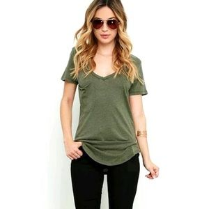 Victoria's Secret PINK Olive Green V-Neck Tee